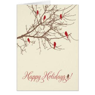 Carte de vacances d'oiseaux d'hiver (canneberge)