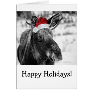 Carte de vacances d'orignaux de Noël