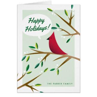 Carte de vacances pliée par cardinal gai de Noël