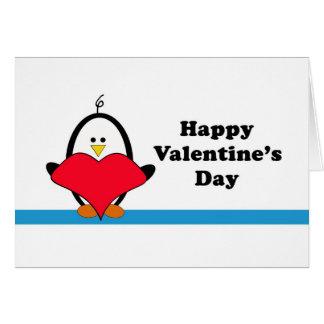 Carte de Valentine de coeur de pingouin