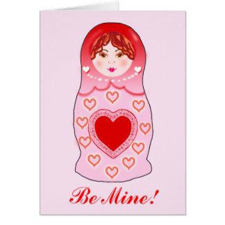 Carte de Valentine de poupée d'emboîtement