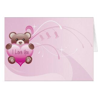 Carte de Valentine de rose de Beary Valentine je