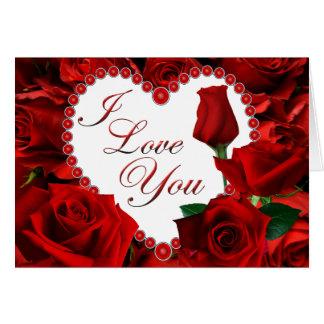 Carte de Valentine de roses rouges