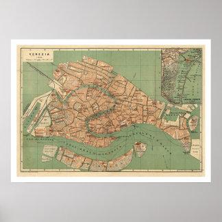 Carte de Venise, Italie vers 1886 Posters