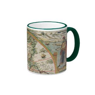 Carte de Vieux Monde antique des Amériques, 1597 Mug Ringer
