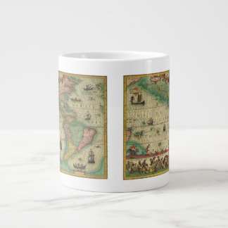 Carte de Vieux Monde antique des Amériques 1606 Mugs Extra Larges