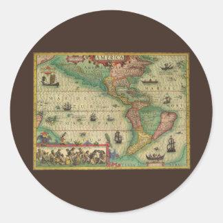 Carte de Vieux Monde antique des Amériques, 1606 Sticker Rond