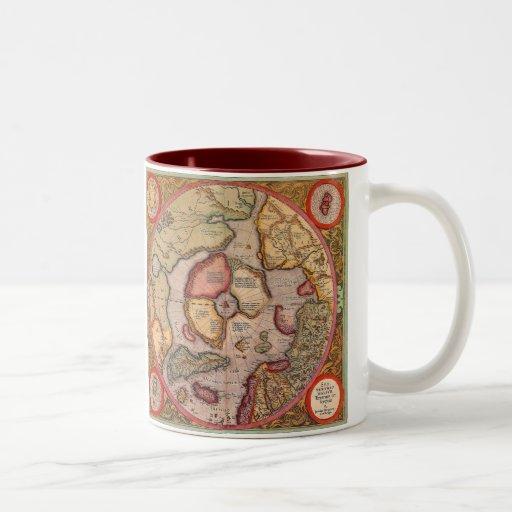 Carte de Vieux Monde antique, Pôle Nord arctique,  Tasses À Café