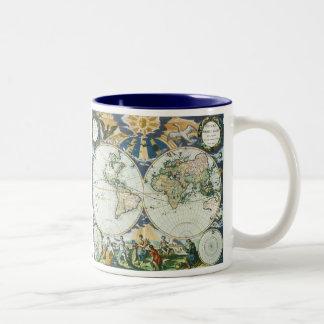 Carte de Vieux Monde antique vintage par des subst Mugs À Café