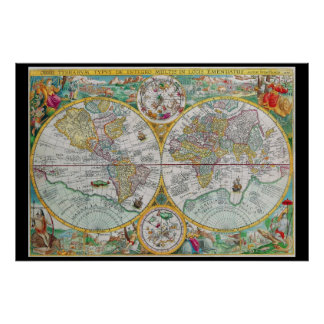 Carte de Vieux Monde avec l'illustration colorée Poster