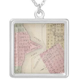 Carte de ville de lac, et carte de Wabasha, Minnes Pendentif Carré