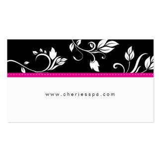 Carte de visite à la mode floral noir blanc de ros