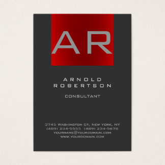Carte de visite à la mode rouge gris élégant de