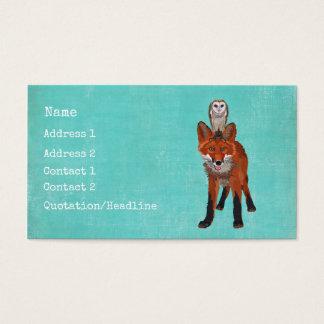 Carte de visite ambre de Fox et de hibou
