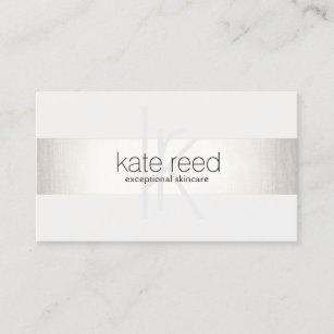 Carte De Visite Argent Moderne Blanc FAUX Monogramme Elegant