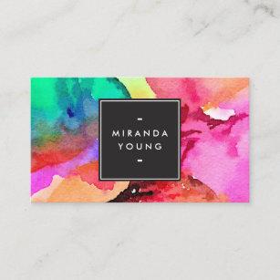Carte De Visite Art Abstrait Colore Lumineux Daquarelle