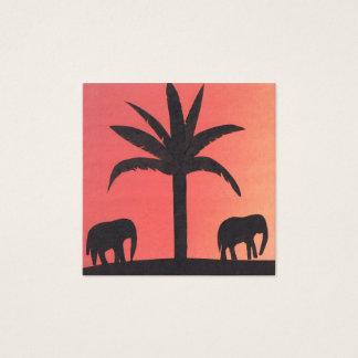 Carte de visite avec des silhouettes d'éléphant
