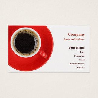Carte de visite avec la tasse de café rouge