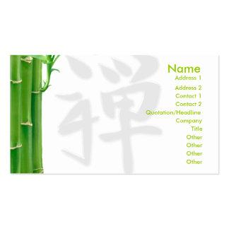Carte de visite avec le kanji en bambou d'arbre et