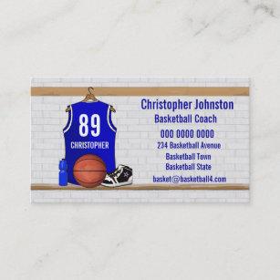 Carte De Visite Basket Ball Bleu Et Blanc Personnalise Jersey