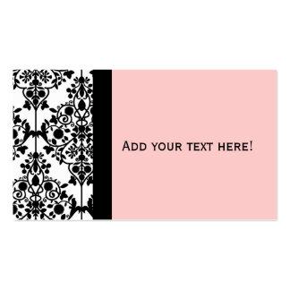 Carte de visite blanc et rose noir élégant de