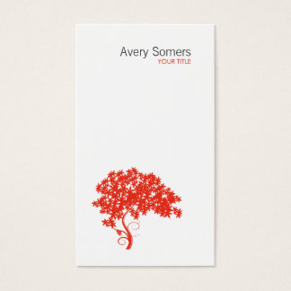 Carte de visite blanc simple de logo rouge d'arbre