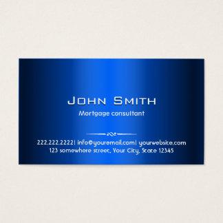 Carte de visite bleu d'agent d'hypothèque en métal