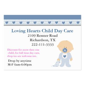 Carte de visite bleu de Childcare de coeurs