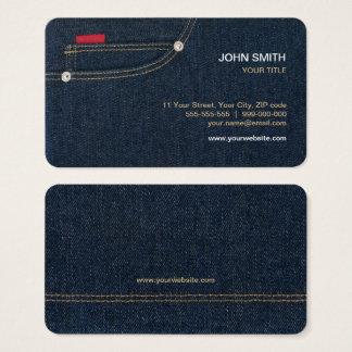 Carte de visite bleu de jeans de denim