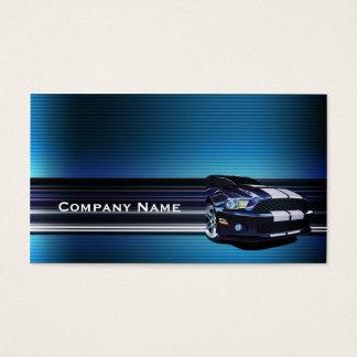 Carte de visite bleu de voiture de mustang en