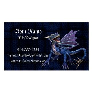 Carte de visite bleu d'imaginaire de dragon