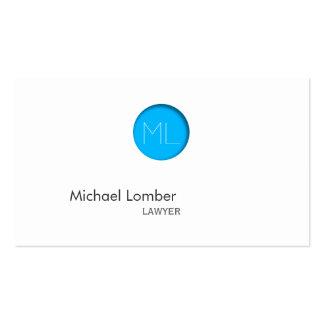Carte de visite bleu minimal de monogramme de poin