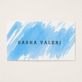 Carte de visite bleu minimaliste d'aquarelle