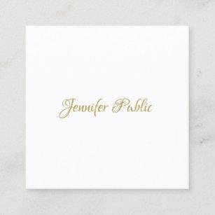 Carte De Visite Carre A La Mode Minimaliste Elegant Manuscrit