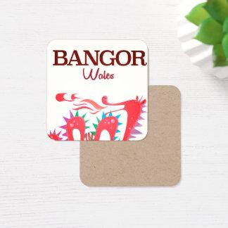 Carte De Visite Carré Affiche de dragon de Bangor Pays de Galles