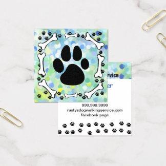 Carte De Visite Carré Aquarelle mignonne de service d'animal familier de