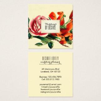 Carte De Visite Carré Aquarelle vintage du wedding planner | florale