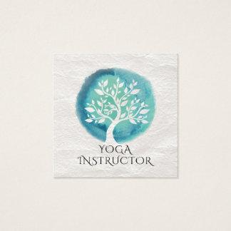 Carte De Visite Carré Arbre turquoise blanc élégant d'instructeur de