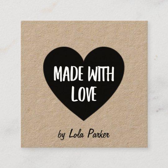 Carte De Visite Carre Coeur Et Papier Demballage Fait Avec Amour