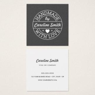 Carte De Visite Carré Fait main avec le timbre de blanc gris d'amour