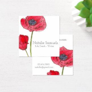 Carte De Visite Carré Fleur rouge d'aquarelle de pavot