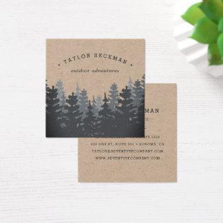 Carte De Visite Carré Forêt | Papier d'emballage d'hiver