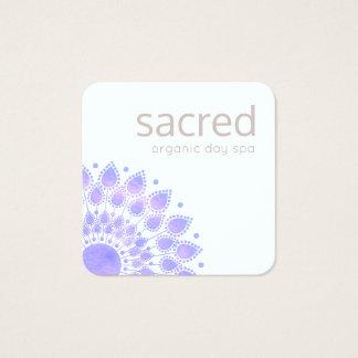 Carte De Visite Carré Mandala de fleur de Lotus de lavande