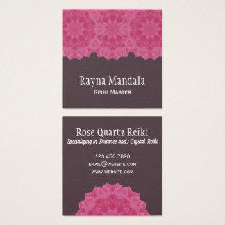Carte De Visite Carré Mandala de quartz rose du maître | de Reiki