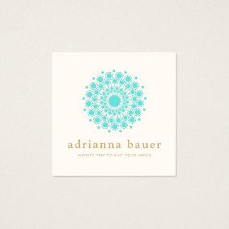 Carte De Visite Carré Mandala élégant simple de bleu de turquoise