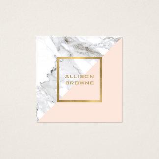 Carte De Visite Carré Marbre géométrique moderne/rose et or de Faux