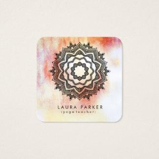 Carte De Visite Carré Méditation de yoga de fleur de Lotus de mandala