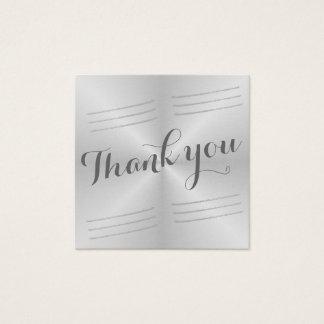 Carte De Visite Carré Merci balayé de mariage en métal