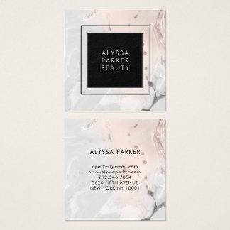 Carte De Visite Carré Moderne rougissent le marbre rose et gris avec le