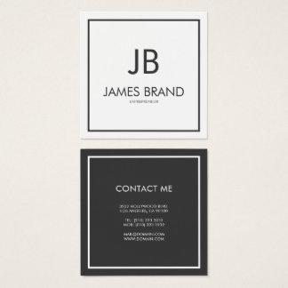 Carte De Visite Carré Monogramme noir et blanc minimaliste carré